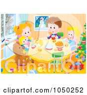 Royalty Free RF Clip Art Illustration Of Siblings Playing At A Table