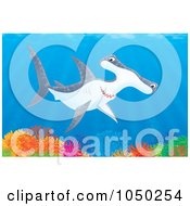 Royalty Free RF Clip Art Illustration Of A Hammerhead Shark Over A Coral Reef