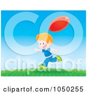 Royalty Free RF Clip Art Illustration Of A Boy Running Outdoors With A Red Balloon by Alex Bannykh
