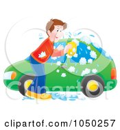 Royalty Free RF Clip Art Illustration Of A Man Washing His Tiny Green Car by Alex Bannykh