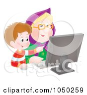 Royalty Free RF Clip Art Illustration Of A Boy Teaching His Granny How To Use A Computer by Alex Bannykh
