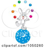 Royalty Free RF Clip Art Illustration Of A Bunny Juggling On A Ball