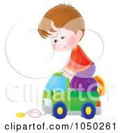 Royalty Free RF Clip Art Illustration Of A Boy Riding A Toy Truck by Alex Bannykh