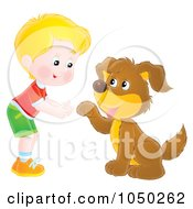 Royalty Free RF Clip Art Illustration Of A Boy Teaching His Dog How To Shake Hands by Alex Bannykh