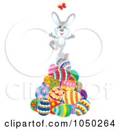 Royalty Free RF Clip Art Illustration Of A Happy Easter Bunny Chasing A Butterfly On A Pile Of Eggs