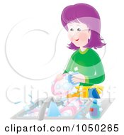 Royalty Free RF Clip Art Illustration Of A Purple Haired Woman Washing Dishes
