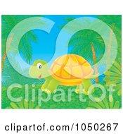 Royalty Free RF Clip Art Illustration Of A Tortoise Under Palm Trees by Alex Bannykh