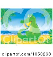 Royalty Free RF Clip Art Illustration Of An Alligator With A Beach Ball In His Mouth On The Shore by Alex Bannykh