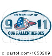 Royalty Free RF Clip Art Illustration Of A Blue Oval With A Helmet And In Memory Of Our 9 11 Fallen Heroes Text by patrimonio