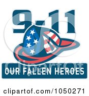 Royalty Free RF Clip Art Illustration Of A Fireman Helmet With 9 11 Our Fallen Heroes Text by patrimonio