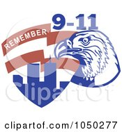 Royalty Free RF Clip Art Illustration Of A Bald Eagle With The World Trade Center And Remember 9 11 Text