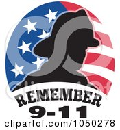 Royalty Free RF Clip Art Illustration Of A Silhouetted Fireman Over An American Flag And Remember 9 11 Text by patrimonio