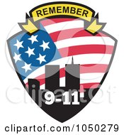 Royalty Free RF Clip Art Illustration Of A Remember Banner Over A Twin Towers Shield With 9 11