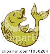 Royalty Free RF Clip Art Illustration Of A Green Koi Fish 2 by patrimonio