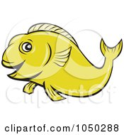 Royalty Free RF Clip Art Illustration Of A Green Koi Fish 1