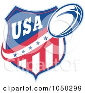 Royalty Free RF Clip Art Illustration Of A Rugby USA Shield And Ball 1