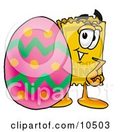 Clipart Picture Of A Yellow Admission Ticket Mascot Cartoon Character Standing Beside An Easter Egg