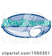 Royalty Free RF Clip Art Illustration Of A Rugby New Zealand Oval