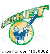 Royalty Free RF Clip Art Illustration Of A Cricket Player Logo 8