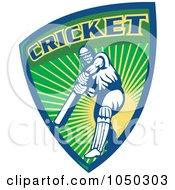 Royalty Free RF Clip Art Illustration Of A Cricket Player Logo 6