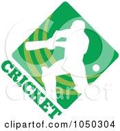 Royalty Free RF Clip Art Illustration Of A Cricket Player Logo 1