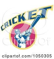 Royalty Free RF Clip Art Illustration Of A Cricket Player Logo 7