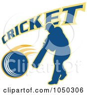 Royalty Free RF Clip Art Illustration Of A Cricket Player Logo 5