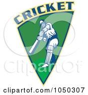 Royalty Free RF Clip Art Illustration Of A Cricket Player Logo 4