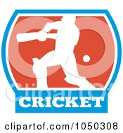 Royalty Free RF Clip Art Illustration Of A Cricket Player Logo 2