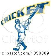 Royalty Free RF Clip Art Illustration Of A Cricket Player Logo 9