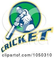 Royalty Free RF Clip Art Illustration Of A Cricket Player Logo 3