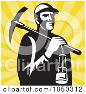 Royalty Free RF Clip Art Illustration Of A Retro Miner Carrying A Pickax And Lantern by patrimonio