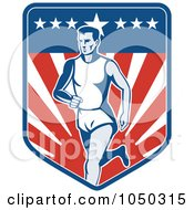 Royalty Free RF Clip Art Illustration Of A Patriotic American Marathon Runner Over A Shield