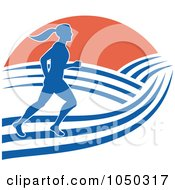 Royalty Free RF Clip Art Illustration Of A Female Marathon Runner With Hills And Sunrise