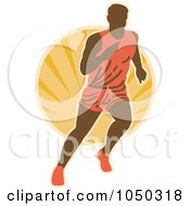 Royalty Free RF Clip Art Illustration Of A Marathon Runner Over An Orange Burst