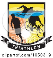 Royalty Free RF Clip Art Illustration Of A Triathlon Shield