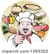 Royalty Free RF Clip Art Illustration Of A Chef Holding Thumbs Up by patrimonio