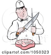 Royalty Free RF Clip Art Illustration Of A Butcher Cutting Meat