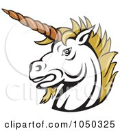 Royalty Free RF Clip Art Illustration Of A Unicorn Head Logo by patrimonio