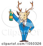 Royalty Free RF Clip Art Illustration Of A Deer Holding Wine by patrimonio