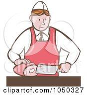 Royalty Free RF Clip Art Illustration Of A Butcher Cutting Ham