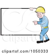 Royalty Free RF Clip Art Illustration Of A Construction Worker Pointing At A Blank Sign