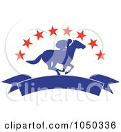 Royalty Free RF Clip Art Illustration Of A Silhouetted Blue Jockey And Banner Under Red Stars