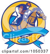 Royalty Free RF Clip Art Illustration Of A Jockey And Banner Circle