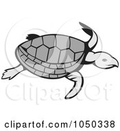 Royalty Free RF Clip Art Illustration Of A Swimming Turtle by patrimonio