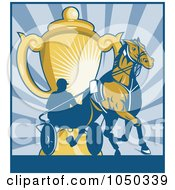 Royalty Free RF Clip Art Illustration Of A Harness Racing Man And Horse With Gold Trophy Over Blue Rays by patrimonio