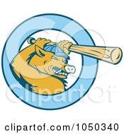 Royalty Free RF Clip Art Illustration Of A Razorback Bor Baseball Logo