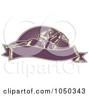 Royalty Free RF Clip Art Illustration Of A Retro Purple Jockey And Banner