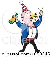 Partying Turkey Holding A Wine Bottle