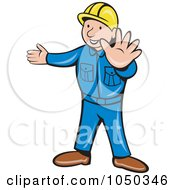 Construction Worker Gesturing To Stop